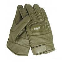 Тактические перчатки (кожаные) -  Mil-Teс (Германия), олива., фото 1