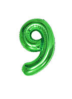 """Воздушный шар цифра """"9"""" Special Occasion 100см Зеленый"""