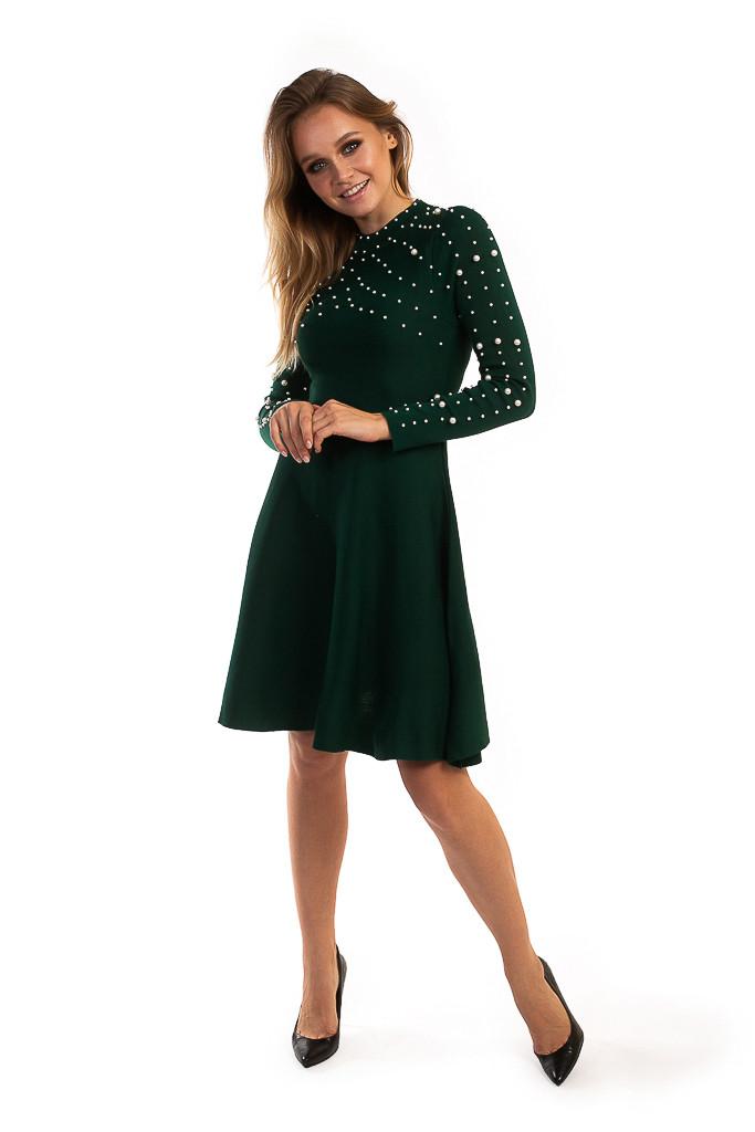 Платье с жемчужинами на груди и рукавах LUREX - зеленый цвет, M (есть размеры)