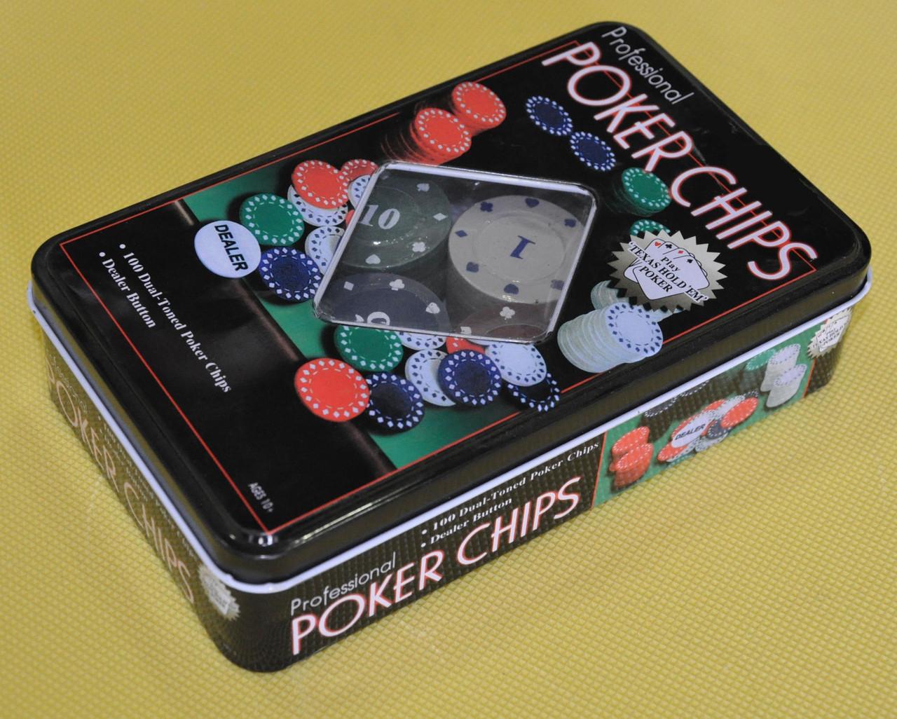 Покерні фішки в жестяній коробці-100 IG-1102110