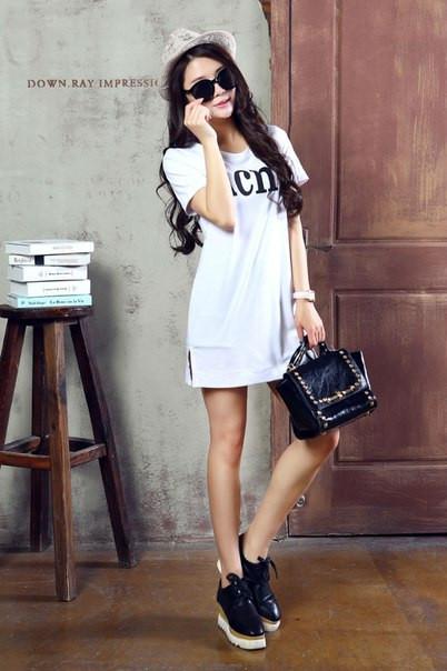 98219cc1e44f Платье-футболка белое