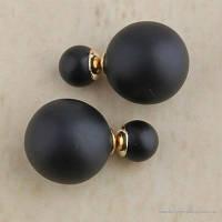 Серьги-пусеты Диор Dior черные матовые