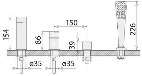Смеситель для ванны врезной Welle Ernest AR28218D-1303, фото 2