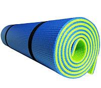 Коврик для занятия йоги и фитнеса двухслойный 15829 180x60x1 см, йогамат