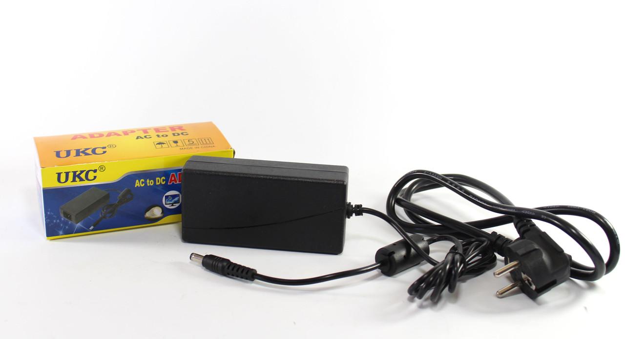 Адаптер 12V 4A UKC Пластик + кабель (разъём 5.5*2.5mm)  (100)