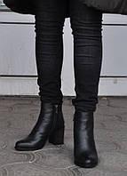 Ботинки женские зимние из натуральной кожи, на меху, черные. Размеры 36, 37, 38, 39, 40. Viscala 77980.