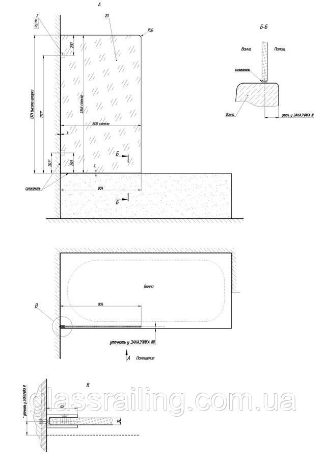 Montajnaya shema steklyannoi dushevoi peregorodki