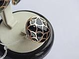 Серебряные серьги с золотой пластинкой и черной эмалью, фото 6