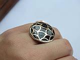 Серебряные серьги с золотой пластинкой и черной эмалью, фото 9