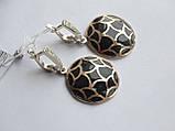 Серебряные серьги с золотой пластинкой и черной эмалью, фото 2