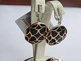 Серебряные серьги с золотой пластинкой и черной эмалью, фото 3