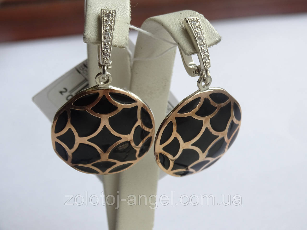 Серебряные серьги с золотой пластинкой и черной эмалью