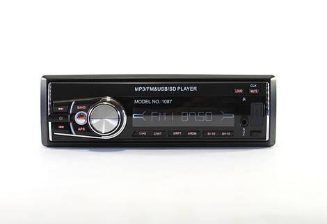 Автомагнитола MP3 1087 съемная панель  + ISO кабель  (20)   в уп. 20шт.