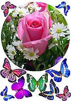 """Картинка вафельная А4 """"Цветы2 """"(d19см), фото 1"""