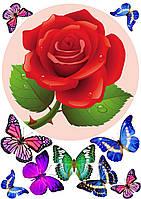 """Картинка вафельная А4 """"Цветы3 """"(d19см), фото 1"""