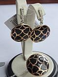 Серебряные серьги с золотой пластинкой и черной эмалью, фото 5