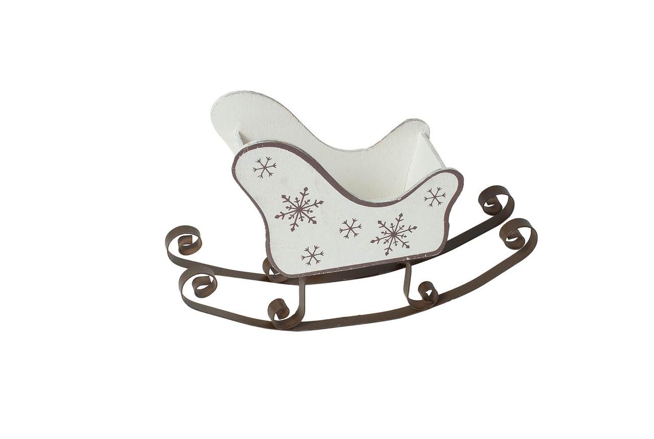 Декор новогодний МДФ Сани белые со снежинками 16.5*10*5.2 см