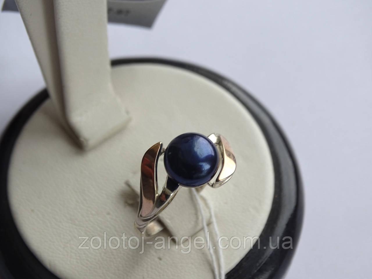 Кольцо серебряное с золотой вставкой и культивированным черным жемчугом