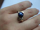 Кольцо серебряное с золотой вставкой и культивированным черным жемчугом, фото 2