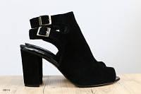 Женские черные замшевые босоножки на удобном каблуке