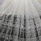 Тюль с машиной вышивкой на фатине белого цвета. Турцыя .Оптом и на метраж .Высота 2.8 м., фото 5