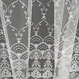 Тюль с машиной вышивкой на фатине белого цвета. Турцыя .Оптом и на метраж .Высота 2.8 м., фото 4