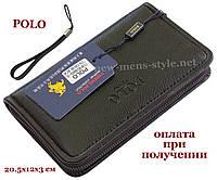 Чоловічий шкіряний гаманець портмоне клатч барсетка барсетка POLO, фото 1