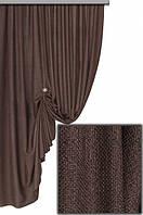Портьерная ткань легкая мешковина, цвет шоколадный