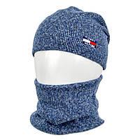 Комплект шапка+баф tomy SP1902 джинс, фото 1