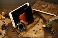 Офисный настольный аксессуар из дерева с логотипом, Мужской органайзер для смартфона и планшета в подарок мужу