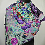 Винтаж 10092-15, павлопосадский платок (крепдешин) шелковый с подрубкой, фото 3