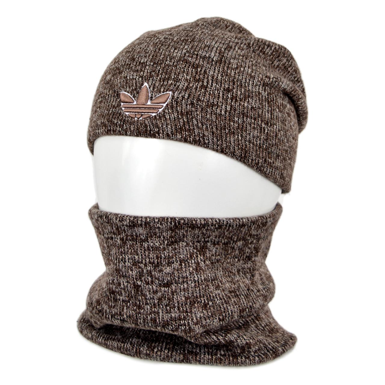 Комплект шапка+баф adidas SP1902 коричневый