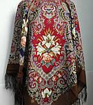 Сказки летней ночи 1862-16, павлопосадский платок шерстяной с шелковой бахромой, фото 3