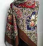 Сказки летней ночи 1862-16, павлопосадский платок шерстяной с шелковой бахромой, фото 4