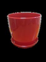 """Вазон цветочный """"Матильда"""" с подставкой V=3,3л (d=18см h=16,5см) красный """"Омела"""""""