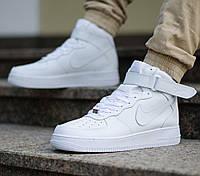 """Кроссовки женские/мужские кожаные высокие Nike Air Force """"Белые"""" р. 36-45, фото 1"""