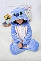 Пижама Кигуруми Стич синий микрофибра (велсофт) детский