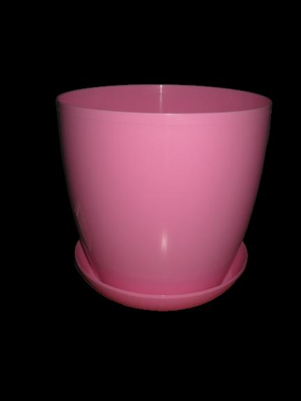 """Вазон цветочный """"Матильда"""" с подставкой V=3,3л (d=18см h=16,5см) розовый """"Омела"""""""