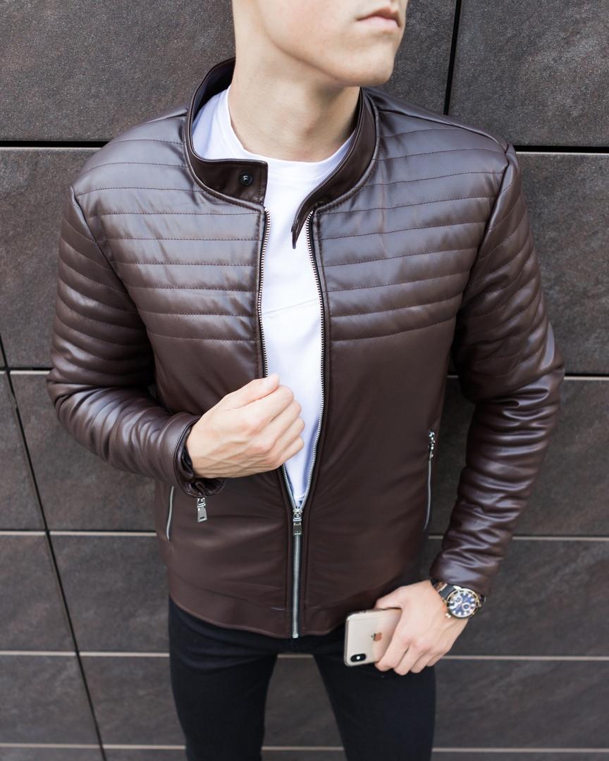"""Мужская кожаная куртка Pobedov Jacket """"Birmingham"""" демисезонная стильная в коричневом цвете, ОРИГИНАЛ"""