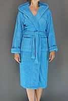 Халат женский махровый длинный Zeron Голубой (Турция)