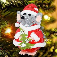 """Игрушка на елку """"Мышка Санта"""" высота 15 см"""