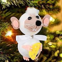 """Игрушка новогодняя стеклянная """"Мышка с бантиком"""" высота 13 см"""