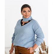 / Размер универсальный 48-52 / Женский теплый свитер 1010Б-Голубой, фото 3