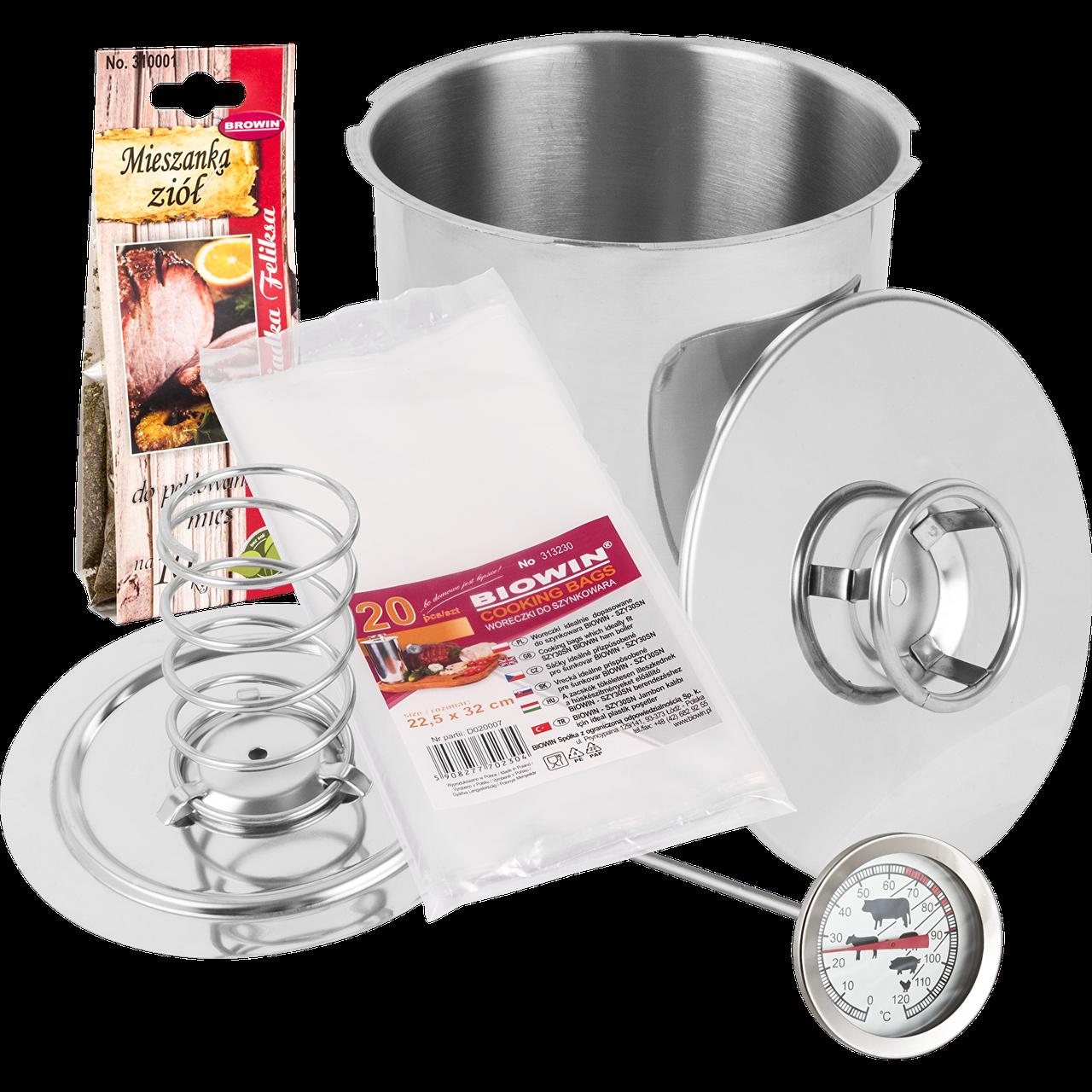 Ветчинница Biowin на 3 кг мяса с термометром, пакетами и специями