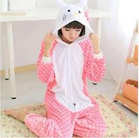 ✅ Детская пижама Кигуруми Hello Kitty в горошек 140 (на рост 135-145см)