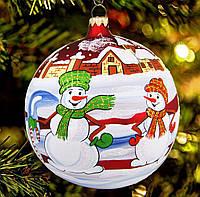 """Большой стеклянный шар на елку """"Снеговики"""" 150 мм"""