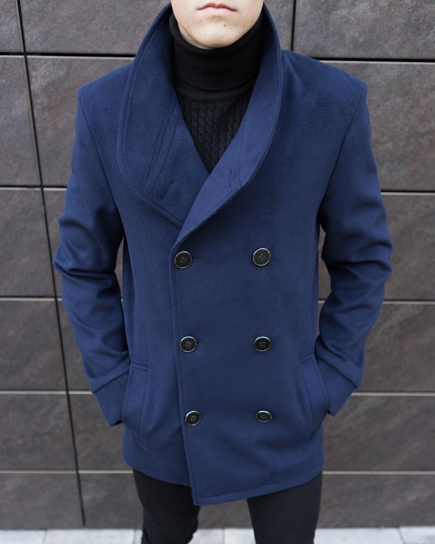 """Пальто мужское Pobedov Coat """"V Teatr"""" стильное модное из кашемира в синем цвете"""
