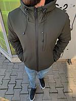 Куртка мужская теплая темно-зеленая цвета хаки с капюшоном куртка на холодную осень-зиму до -15° с овчиной шт.