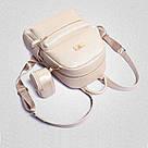 Рюкзак женский набор с кошельком большой бежевый., фото 4