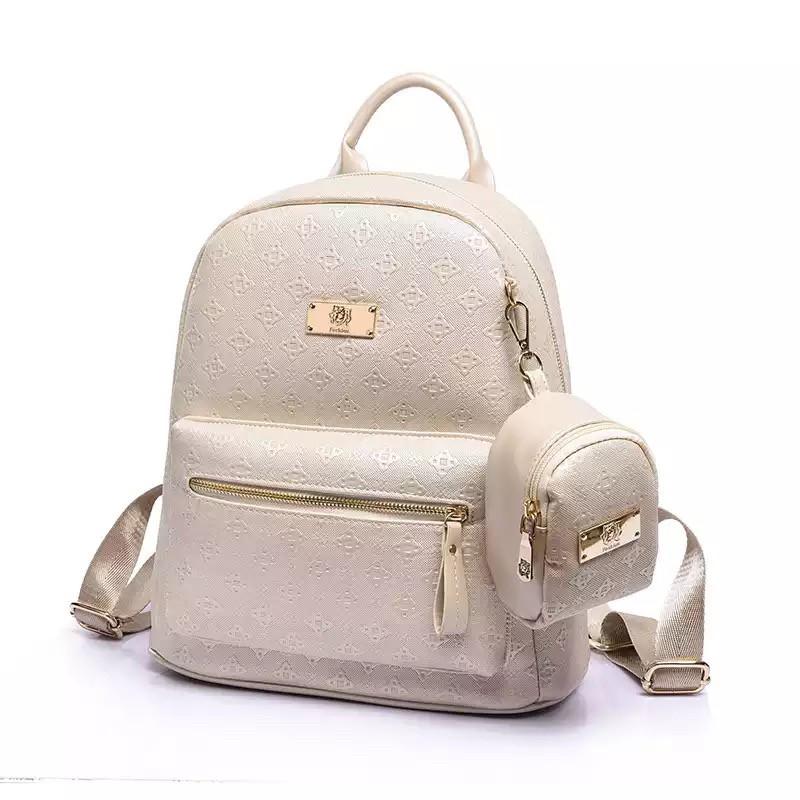 Рюкзак женский набор с кошельком большой бежевый.